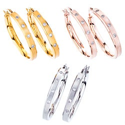 Stainless Steel Cubic Zirconia Accent Hoop Earrings