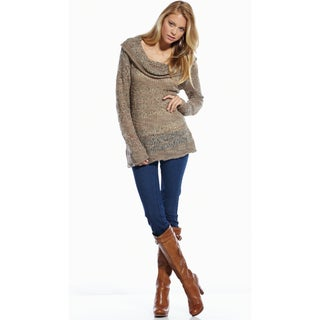 Elan Women's Mixed Yarn Cowl Neck Sweater
