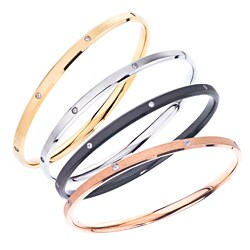 Stainless Steel Cubic Zirconia Accent Bangle Bracelet