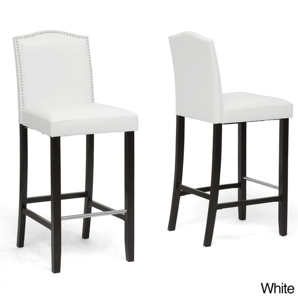 Baxton studio 39 libra 39 modern bar stools with nailhead trim set of 2 - Leather bar stools with nailhead trim ...