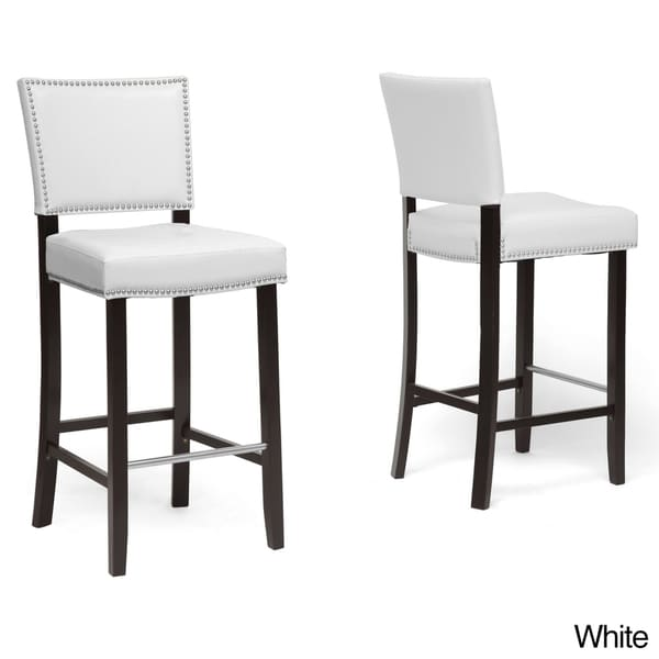 baxton stuido 39 aries 39 modern bar stools with nailhead trim