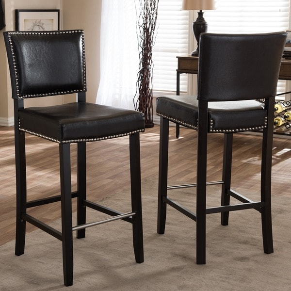 Baxton Stuido 'Aries' Modern Bar Stools with Nailhead Trim (Set of 2)