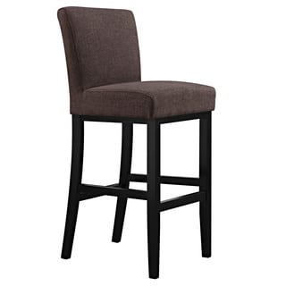 Portfolio Orion Chocolate Brown Linen Upholstered 29-inch Bar Stool