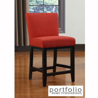 Portfolio Orion Sunset Red Linen Upholstered 23-inch Bar Stool