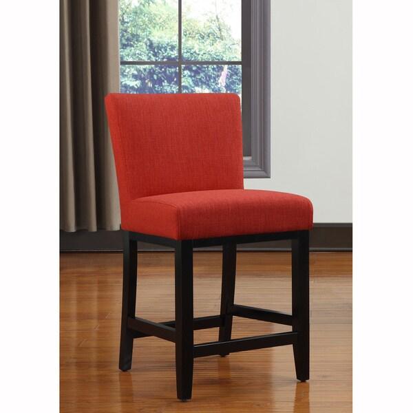 Portfolio Orion Sunset Red Linen Upholstered 23-inch Bar Stool