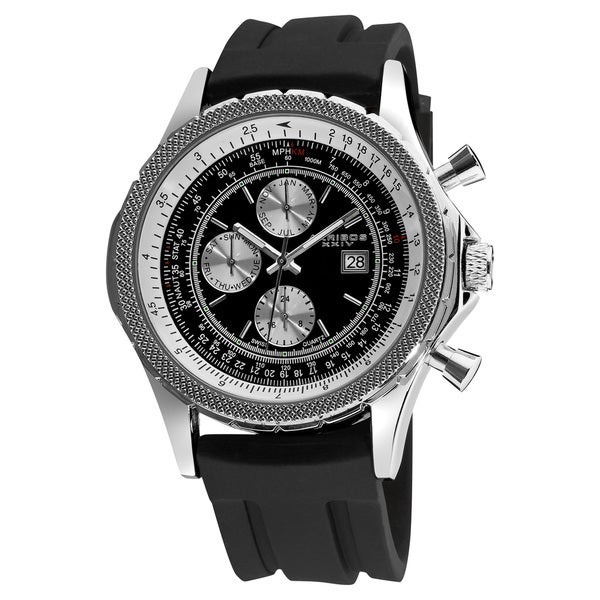 Akribos XXIV Men's Multifunction Rubber Strap Watch