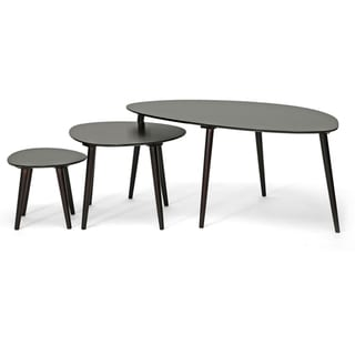 Baxton Studio Metis Dark Brown 3-piece Modern Nesting Table Set