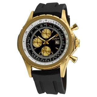 Akribos XXIV Men's Multifunctional Goldtone Rubber Strap Watch