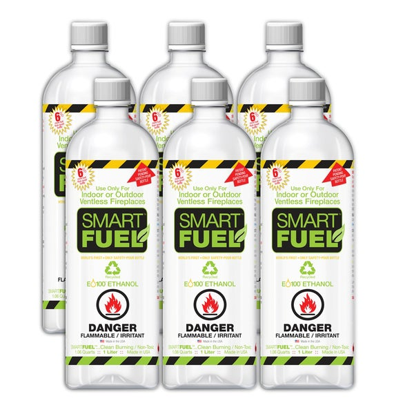 Anywhere Fireplace Smart Fuel Liquid Bio-ethanol Indoor Fireplace Fuel (Pack of 6)