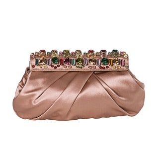 Prada Blush Rose Satin Stone Frame Clutch