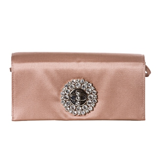 Prada Blush Rose Satin Crystal Turn-lock Evening Bag