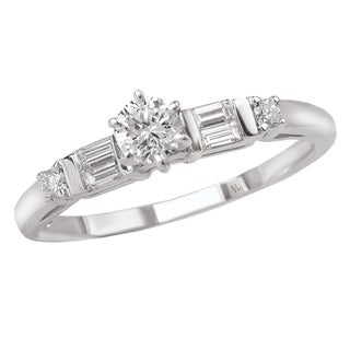 14k Gold 1/3ct TDW Round and Baguette-Cut Diamond Ring (G-H, SI1-SI2)