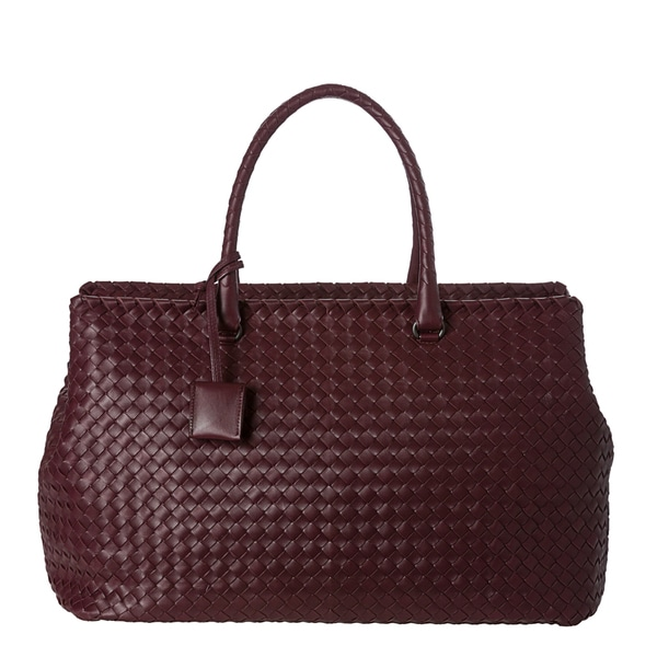 Bottega Veneta Burgundy Nappa Leather Intrecciato Brick Bag