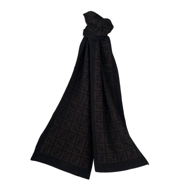 Fendi FXT838 00QD5 F0RQ5 Black/ Brown Zucca Knit Scarf