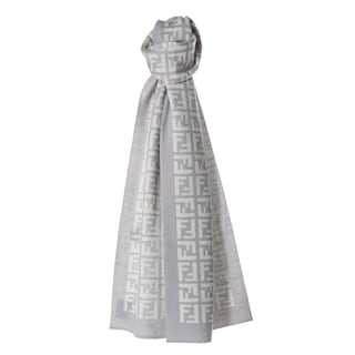 Fendi FXT838 00QD5 F0QK9 Light Grey/ White Zucca Knit Scarf