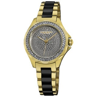 Akribos XXIV Women's Yellow-Gold/Black Swiss Quartz Diamond/Ceramic Link-Bracelet Watch
