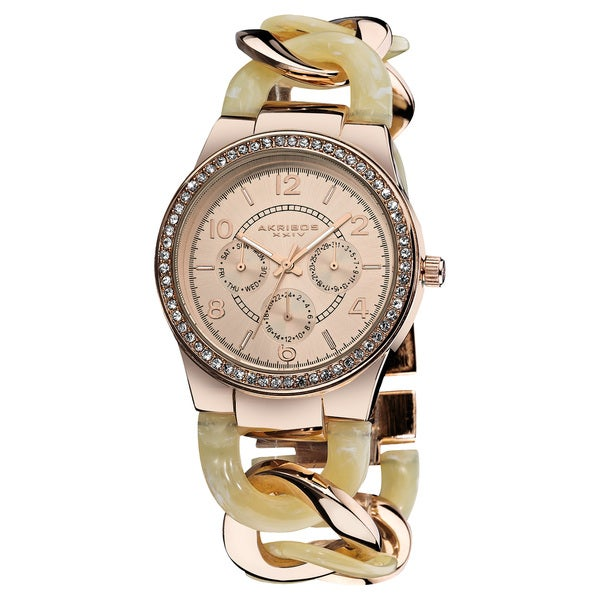 Akribos XXIV Women's Quartz Multifunction Rose-Tone Crystal-Accented Resin Chain Watch