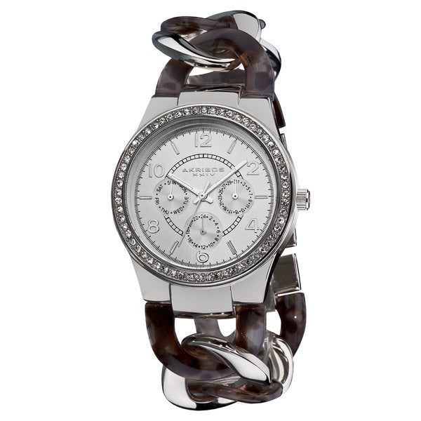 Akribos XXIV Women's Quartz Multifunction Silver-Tone Crystal-Accented Resin Chain Watch