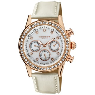 Akribos XXIV Women's Multifunction Dazzling Ivory Strap Watch
