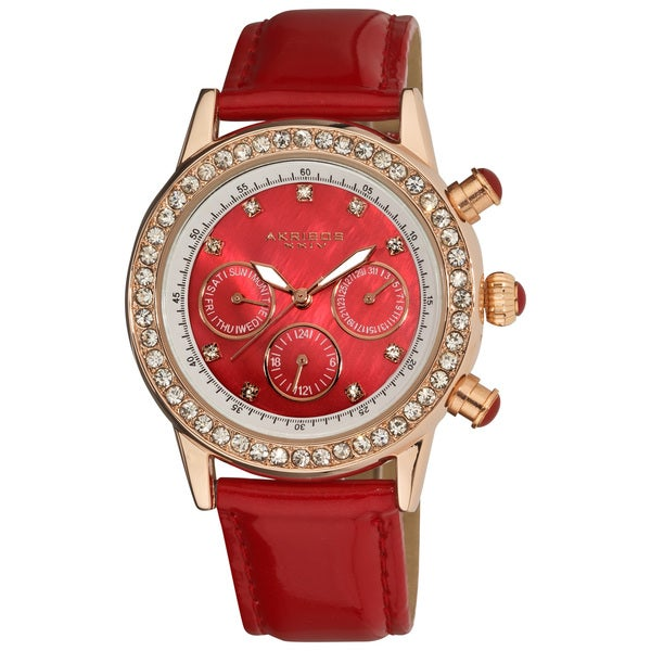 Akribos XXIV Women's Red Multifunction Dazzling Strap Watch