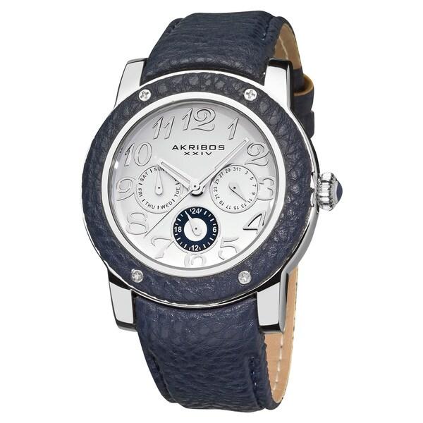 Akribos XXIV Women's Quartz Silver-Tone Multifunction Watch with Blue Genuine Leather Strap