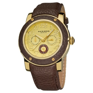 Akribos XXIV Women's Quartz Gold-Tone Multifunction Watch with Brown Genuine Leather Strap
