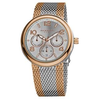 Akribos XXIV Women's Quartz Multifunction Stainless Steel Deployment-Clasp Mesh Bracelet Watch