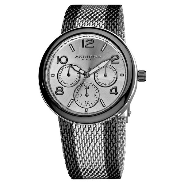 Akribos XXIV Women's Quartz Multifunction Stainless Steel Mineral-Crystal Mesh Bracelet Watch