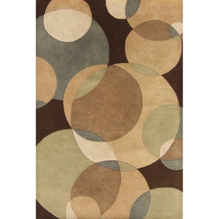 Alliyah Handmade Brown New Zealand Blend Wool Rug (6' x 9')