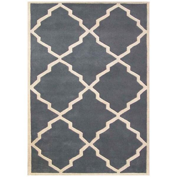 Alliyah Handmade Bluish-Grey New Zealand Blend Wool Rug (6' x 9')