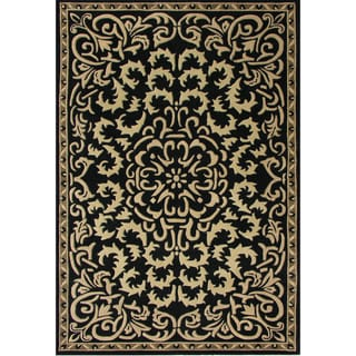 Alliyah Handmade Black New Zealand Blend Wool Rug (6' x 9')