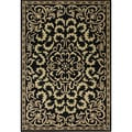 Handmade Black Medallion Wool Rug (6' x 9')