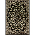 Handmade Black Medallion Wool Rug (5' x 8')