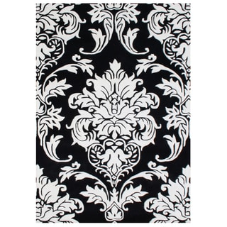 Handmade Black Medallion Wool Rug (9' x 12')