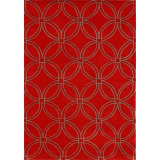 Hand-tufted Circles Red Wool Rug (9' x 12')