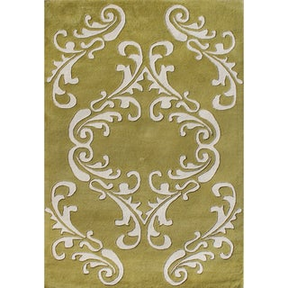 Alliyah Handmade Golden Olive New Zealand Blend Wool Rug