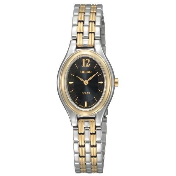Seiko Women's Solar Black Dial Two-tone Bracelet Watch