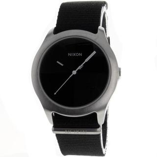 Nixon Men's Quad Steel/ Leather Watch