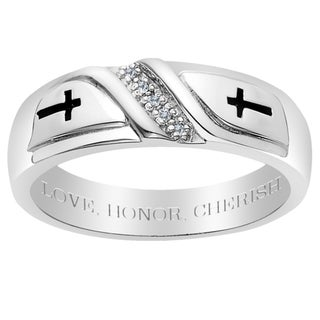 Sterling Silver Men's Diamond Accent Engraved 'Love, Honor, Cherish' Ring