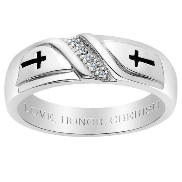 Sterling Silver Men's Diamond Accent Engraved 'Love, Honor, Cherish' Ring