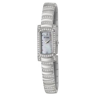 Bulova Women's 'Crystal' Stainless Steel/ Mother of Pearl Watch