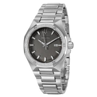 Bulova Men's 'Diamonds' Stainless Steel Watch