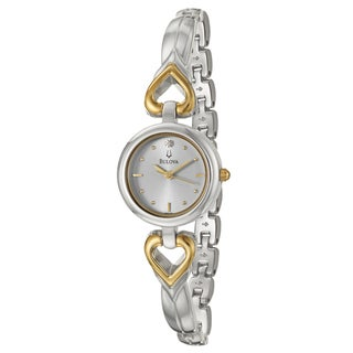 Bulova Women&#39;s &#39;Diamonds&#39; Stainless Steel Goldtone Hearts Watch