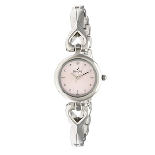 Bulova Women's 'Diamonds' Stainless Steel Hearts Pink Dial Watch
