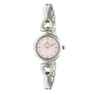 Bulova Women's 96P136 'Diamonds' Stainless Steel Hearts Pink Dial Watch