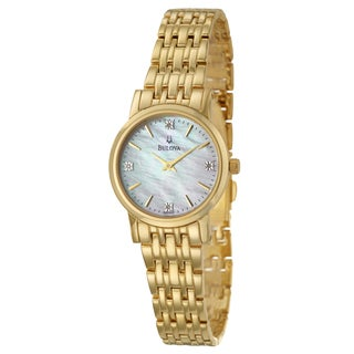 Bulova Women's 'Diamonds' Gold-plated Stainless Steel Watch
