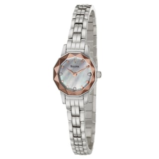 Bulova Women's 'Dress' Stainless Steel Rose Bezel Watch
