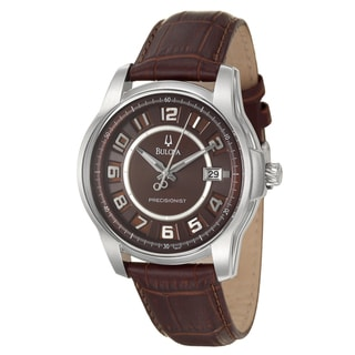 Bulova Men's 'Precisionist' Stainless Steel/ Brown Leather Watch