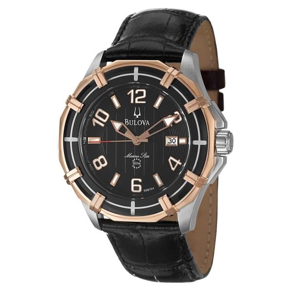 Bulova Men's 98B154 'Sport Marine Star' Rose Goldtone Steel/ Black Leather Watch