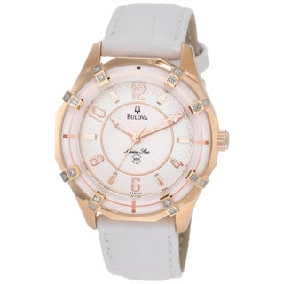 Bulova Women's 'Sport Marine Star' Diamond Bezel White Leather Watch